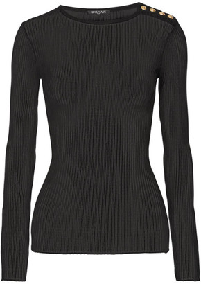 Balmain - Ribbed-knit Top - Black $765 thestylecure.com