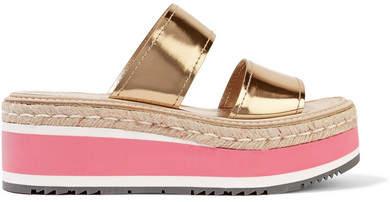Prada - Metallic Leather Platform Sandals - Gold