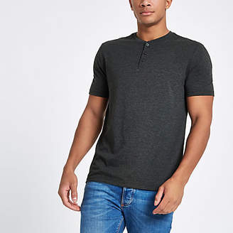 River Island Grey button front slim fit T-shirt