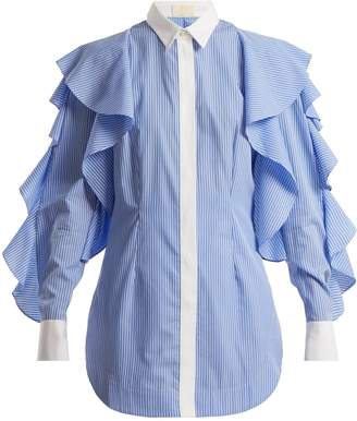 Sara Battaglia Striped point-collar shirt