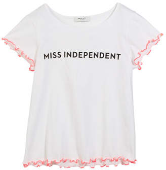 Milly Minis Miss Independent Graphic Tee w/ Ruffle Tipping, Size 4-6