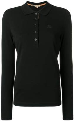 Burberry Long-sleeve Check Placket Cotton Piqué Polo Shirt