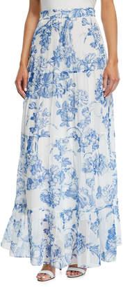 Oscar de la Renta Toile-Print Silk Chiffon Tiered Maxi Skirt
