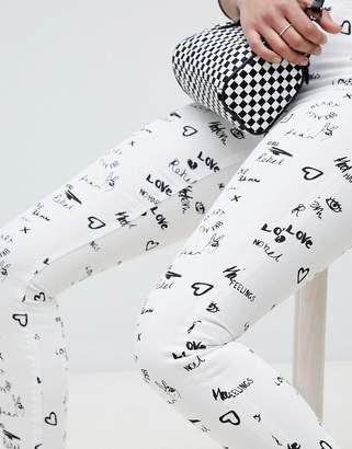 Asos Design DESIGN Ridley High Waist Skinny Jeans In Tattoo Mono Print