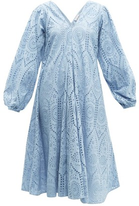 Ganni Balloon Sleeved Broderie Anglaise Cotton Dress - Womens - Light Blue