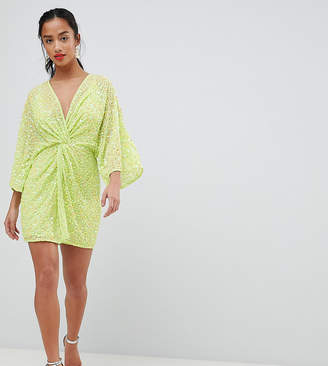 Asos DESIGN Petite Super Mini Kimono Dress In Sequin
