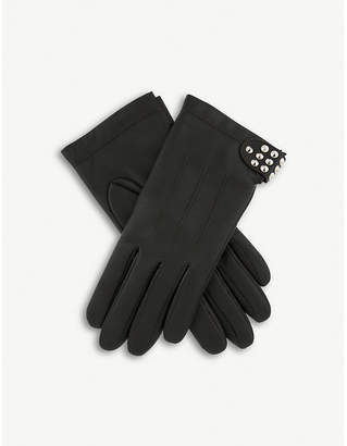 Dents Stud-embellished leather gloves