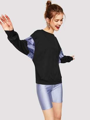 Shein Metallic Panel Drop Shoulder Dolman Sleeve Sweatshirt