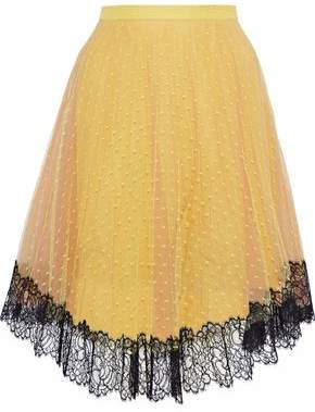 RED Valentino Lace-Trimmed Two-Tone Point D'esprit Skirt