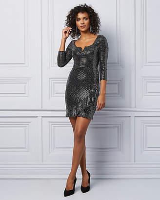 Le Château Sparkle Knit V-Notch Wrap Dress