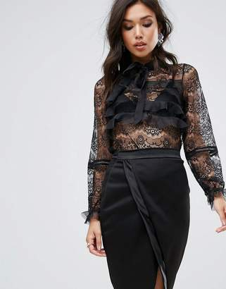True Decadence All Over Lace Blouse With Ruffle Detail