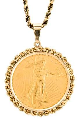 14K Rope Chain Pendant Necklace