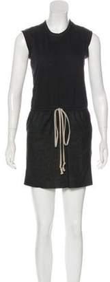 Rick Owens Leather-Paneled Mini Dress Black Leather-Paneled Mini Dress