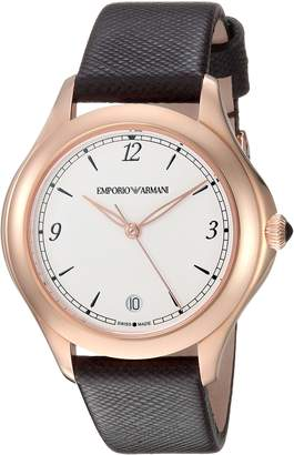 Emporio Armani Swiss Made Women's 'Esedra' Quartz Stainless Steel and Leather Casual Watch, Color: (Model: ARS8505)