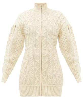 Marine Serre Roll Neck Cable Knit Wool Sweater Dress - Womens - Cream