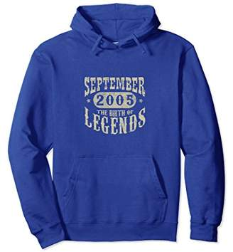 13 Years 13th Birthday September 2005 Birth of Legend Hoodie