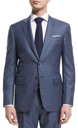 Isaia Super 160s Box Check Two-Piece Suit, Light Blue $3,795 thestylecure.com