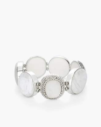 White and Silver-Tone Wide Stretch Bracelet