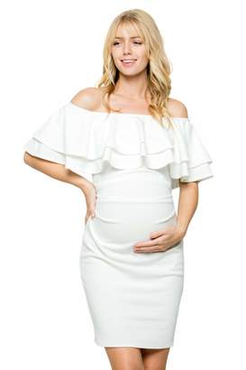 baedade33b974 My Bump Double Layer Ruffle Maternity Dress - Fitted, Off-Shoulder, Baby  Shower