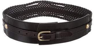 Linea Pelle Leather Woven Buckle Belt