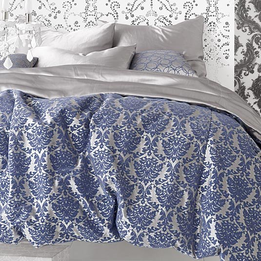 Flocked Leaf Silk Duvet - Silver/Parisian Blue