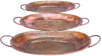 Uma Enterprises Set Of 3 Copper Trays