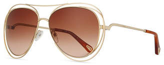 Chloé Carlina Trimmed Aviator Sunglasses