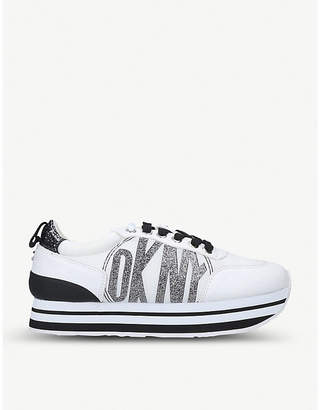 DKNY Panya faux-leather and textile trainers