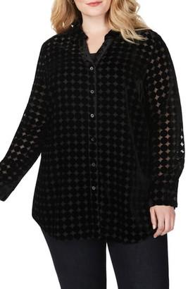 Foxcroft Faith Burnout Dot Tunic Shirt