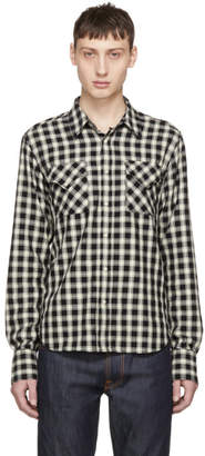 Nudie Jeans Black and Off-White Check Jonis Western Shirt