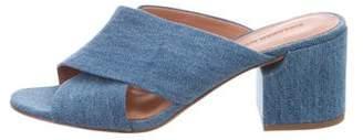 Sigerson Morrison Denim Slide Sandals