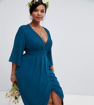 TFNC Plus midi wrap bridesmaids dress with kimono sleeve in petrol blue