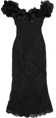 Marchesa Off-the-shoulder Appliquéd Lace Midi Dress - Black
