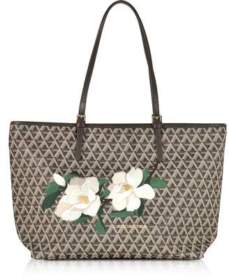 Icon Eyewear Lancaster Paris Brown Coated Canvas & Leather Tote Bag w/Magnolia Embroidery