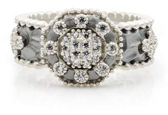 Freida Rothman Two-Tone Rhodium Plated Sterling Silver Pave CZ Deco Ring - Size 8