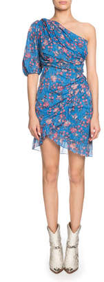 Etoile Isabel Marant Esther Gathered One-Shoulder Floral Short Dress