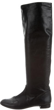prada Prada Leather Over-The-Knee Boots