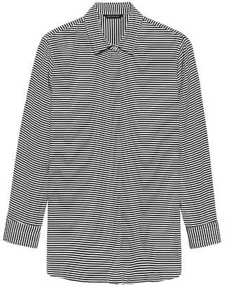 Banana Republic LIFE IN MOTION Parker Tunic-Fit Stripe Washable Stretch Silk Shirt