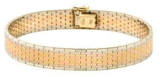 14K Tri-Tone Flat Link Bracelet