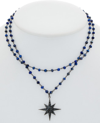 Rachel Reinhardt Silver & Plated Black Spinel & Blue Lapis Star Necklace