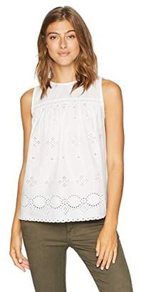 Serene Bohemian Women's Sleeveless Round Neck Schiffli Top in Cotton Fabric (XL)