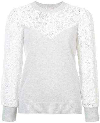 Rebecca Taylor lace-embroidered sweater