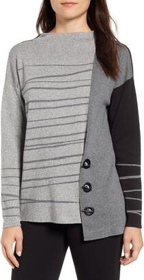 Nic+Zoe Toggled Stripe Sweater