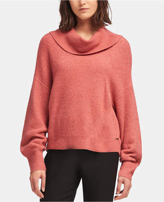 DKNY Cowlneck Ribbed Knit Sweater