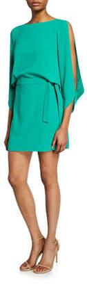 Halston Slit-Sleeve Mini Crepe Dress
