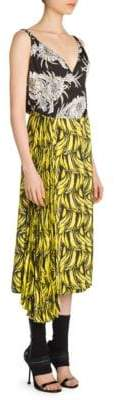 Prada Women's Printed Asymmetric Midi Dress - Yellow Nero - Size 38 (2)