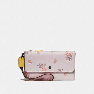 Coach Triple Small Wallet In Colorblock With Floral Bow Print