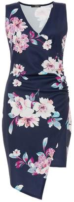 Quiz Navy And Pink Floral Print Wrap Front Dress