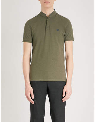 The Kooples Officer-collar cotton polo shirt