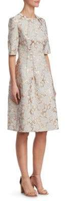 Lela Rose Holly Floral Matelasse Dress